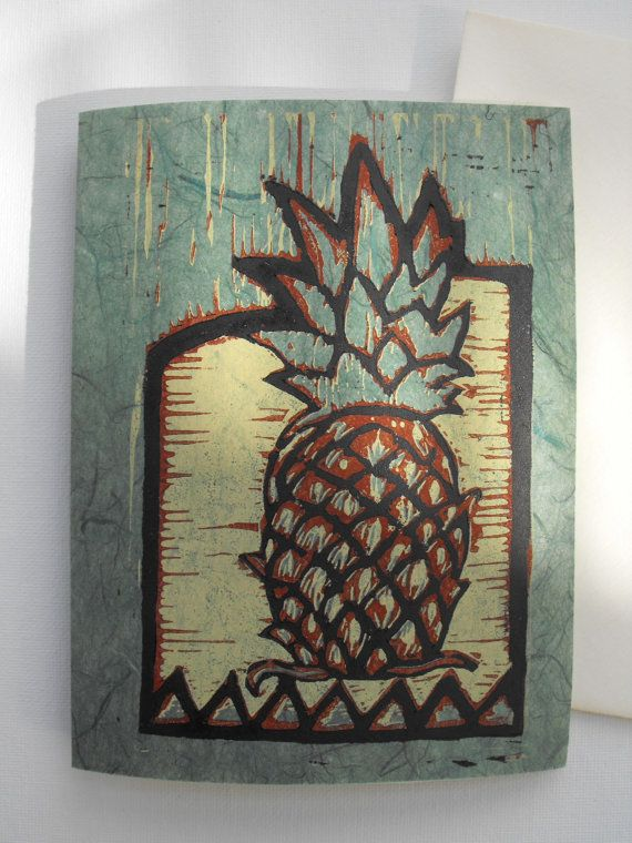 Quality handmade greeting card linocut relief print by ankedesigns, $5.00