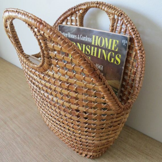 Vintage Mid Century Wicker Magazine Basket Holder Storage Container (Purse Style)