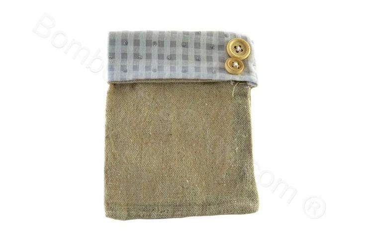 Sacchettino portaconfetti fai da te tessuto quadretti ecru juta e bottoni (CB)