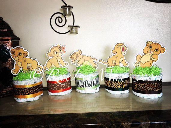 Set Of 5 Baby Simba Lion King Diaper Cake Minis  Simba/Lion King Baby Shower /Simba Decorations/ Lion King Theme/Simba Baby Shower