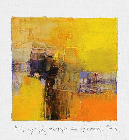 May 18, 2014 - Original Abstract Oil Painting - 9x9 painting (9 x 9 cm - app. 4…