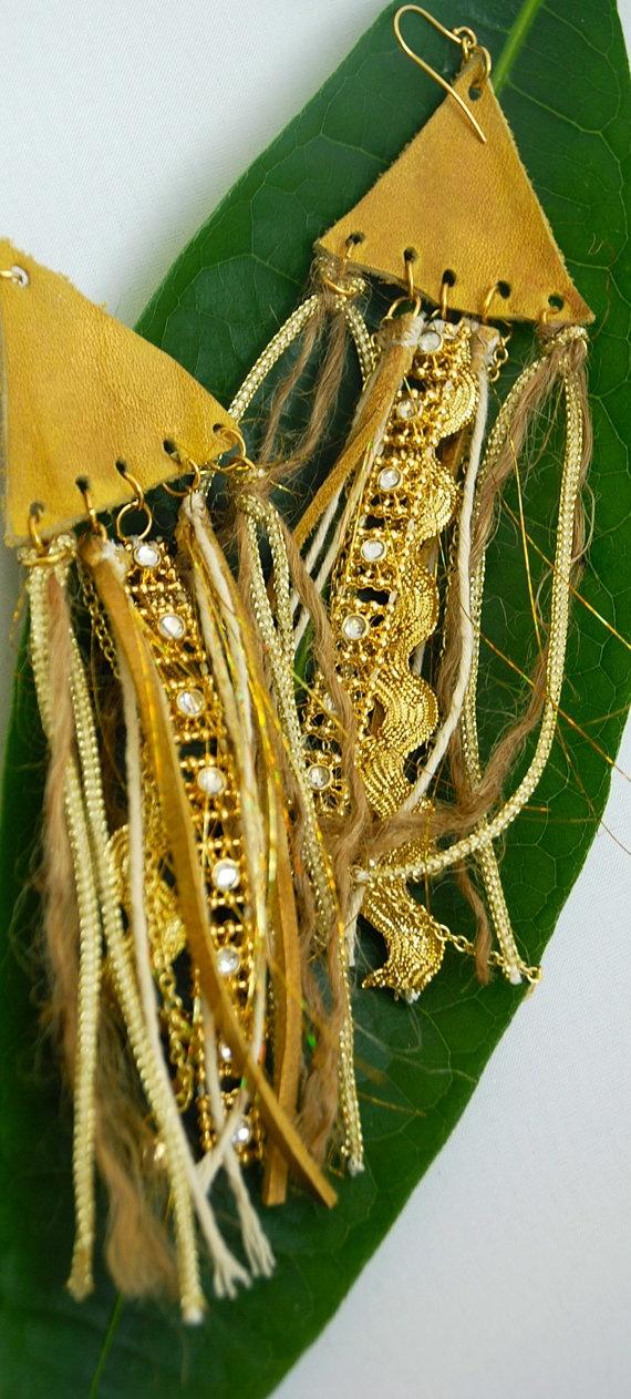 Boho Gold Leather mixed fibers tassels earrings by linglingm, $39.00
