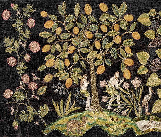 c. 1590-1600, detail of embroidery:  Garden of Eden, The Metropolitan Museum of Art