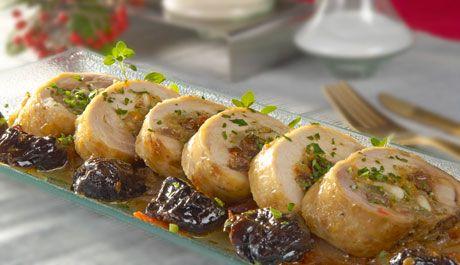 Rollitos de pollo con manzana, nueces, uvas y ciruelas pasas