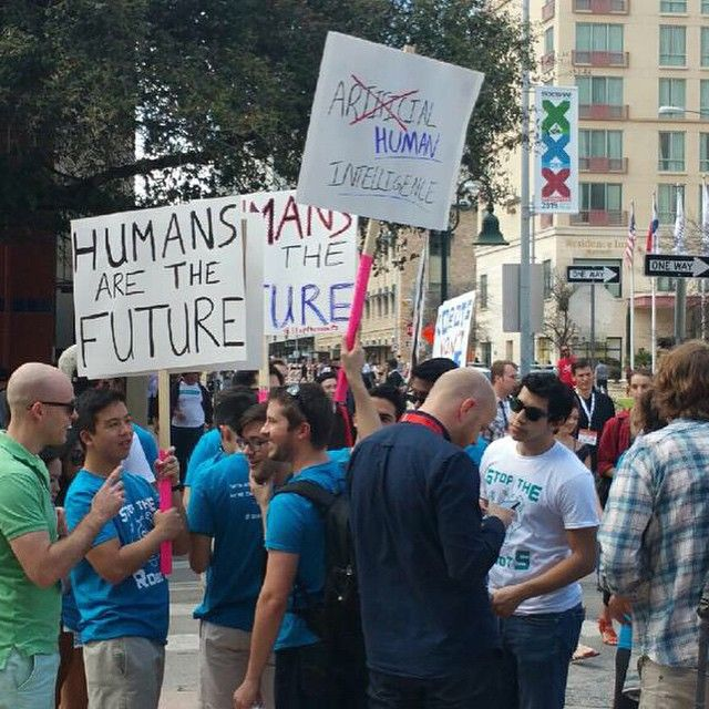 Protests against robots at #sxsw  (at 6th Street, Austin, TX)