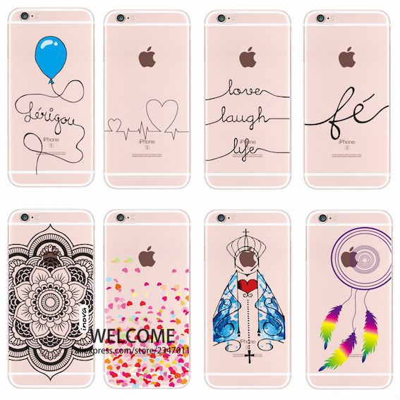 For iPhone 4 5 6 7 S Plus SE 5C Stylish Mandala Dreamcather Love laugh Life Eiffel Owl Portuguese Words  Soft Phone Printed Case