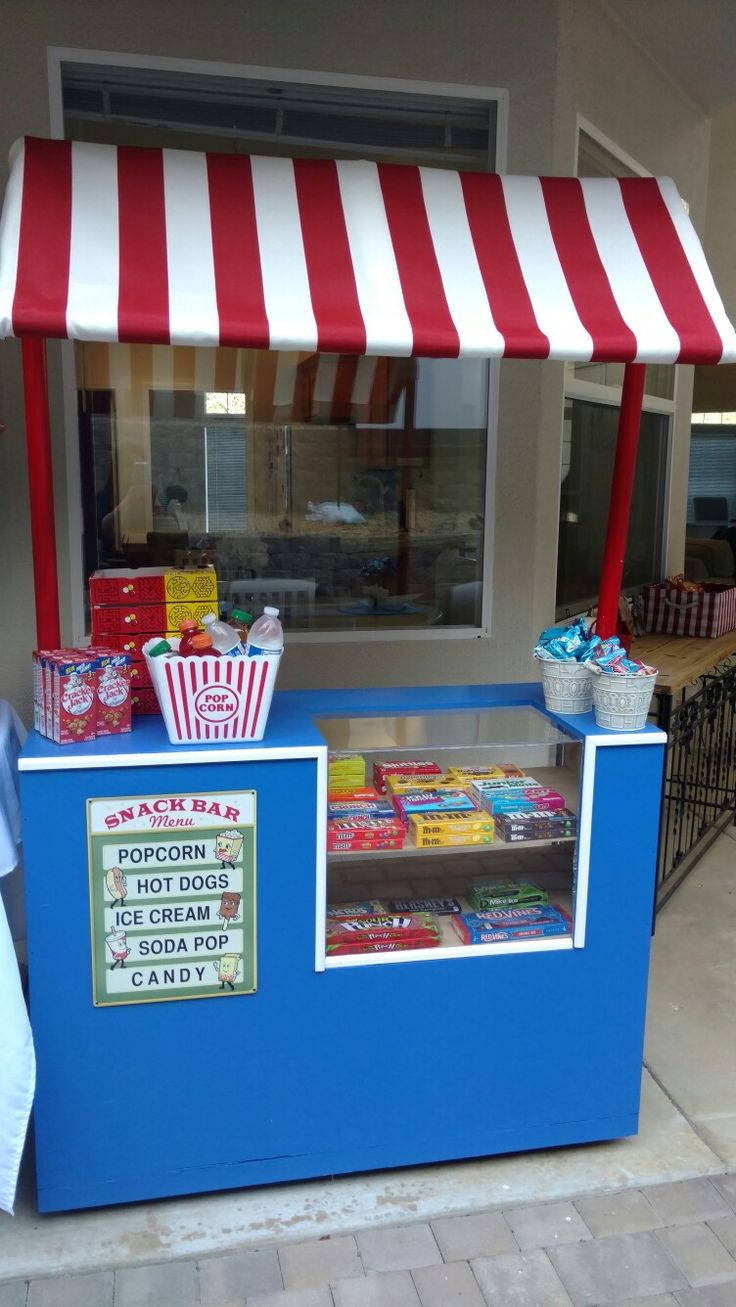 Backyard movie night snack bar / concession stand diy