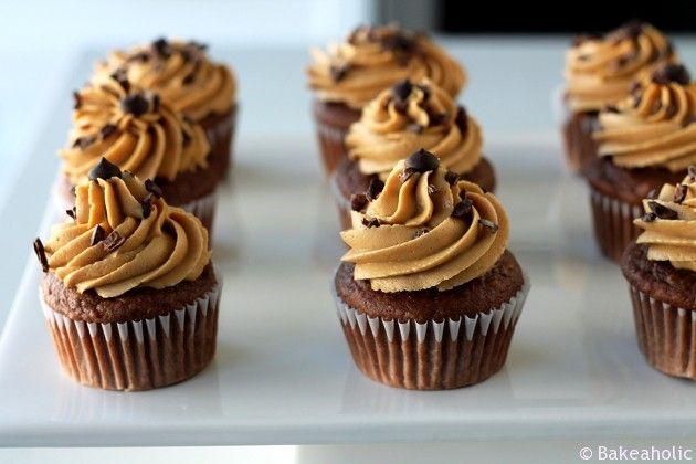 Vegan Chocolate Peanut Butter Cupcakes from Bakeaholic