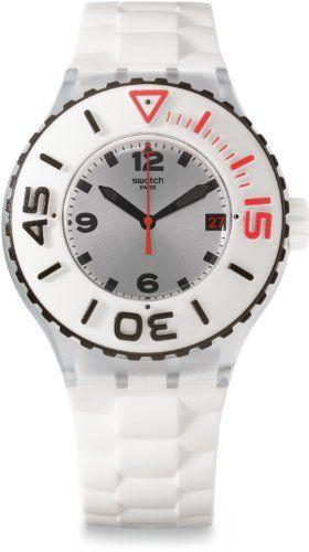 menu0027s wrist watches swatch bianca silver dial white rubber quartz mens watch suuk401