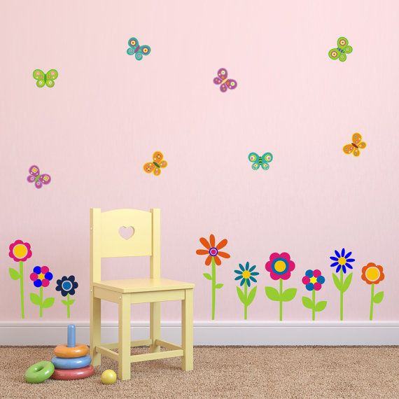 Flower and Butterfly Wall Stickers Flower Wall Decals by Mirrorin