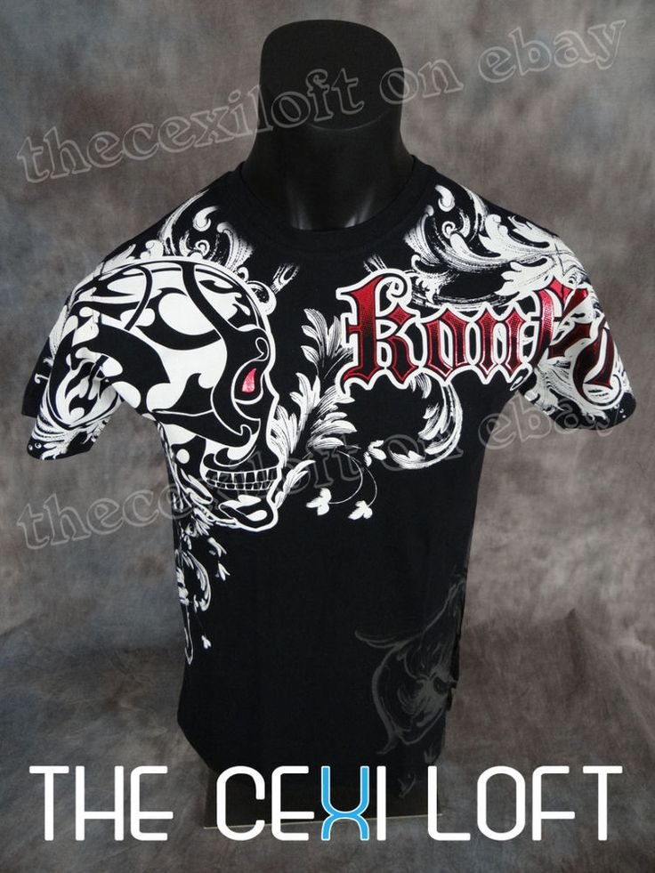 NEW MENS KONFLIC GRAPHIC T-SHIRT Tribal Skull Black with Red Foil Trim MMA   Clothing, Shoes & Accessories, Men's Clothing, T-Shirts   eBay!