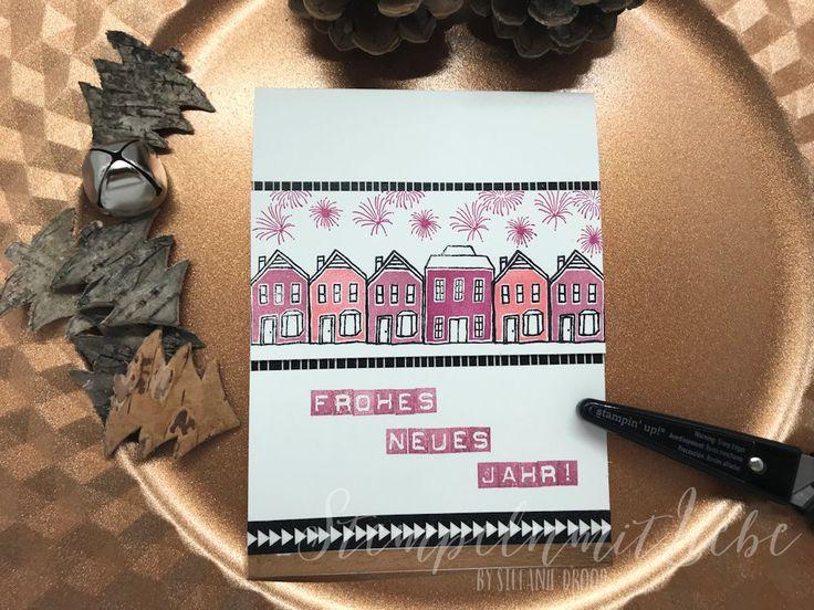 Stampin Up - Karte - Card - Frohes neues Jahr - Neujahr - Happy New Year - Flamingorot - Zarte Pflaume - Stempelset Stadt, Land, Gruß♥ StempelnmitLiebe