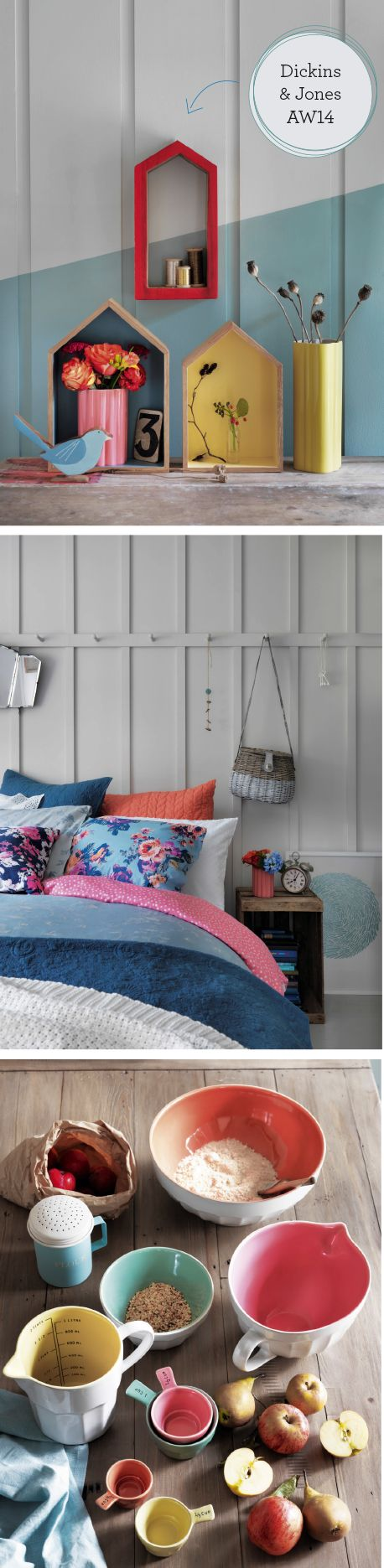 Dickins and Jones, House of Fraser, Homeware, Home Shopping Spy, Ideal Home, AW14, Autumn Winter trends....like the shaker style rails for above a bed