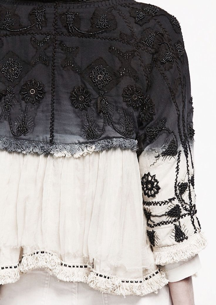 Dyed & embroidered blouse with intricate bohemian embroidery; sewing inspiration; close up fashion detail