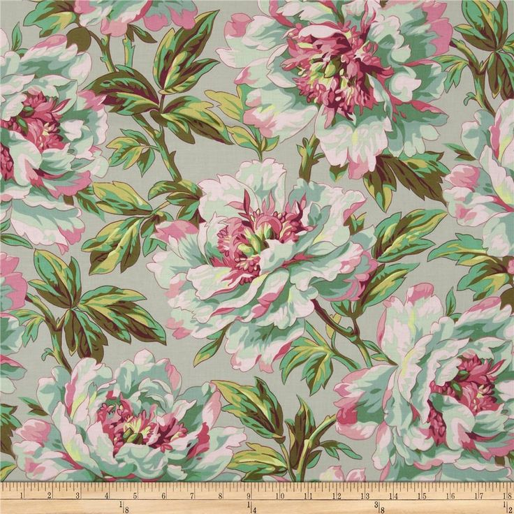 Kaffe Fassett Spring 2014 Collective  Marble Tree Peony Aqua from @fabricdotcom  Designed by Philip Jacobs for Westminster Fabrics, this cotton print is perfect for quilting, apparel and home decor accents. Colors include  pink, shades of green and grey.