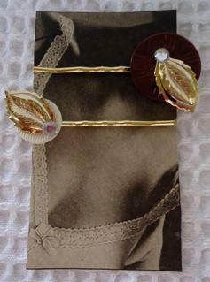 Recycled Vintage Button Hair Pin Jewelry Set FREE by thineintime