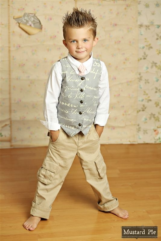 Mustard Pie Clothing - Boy's Vest in Sage Vanilla
