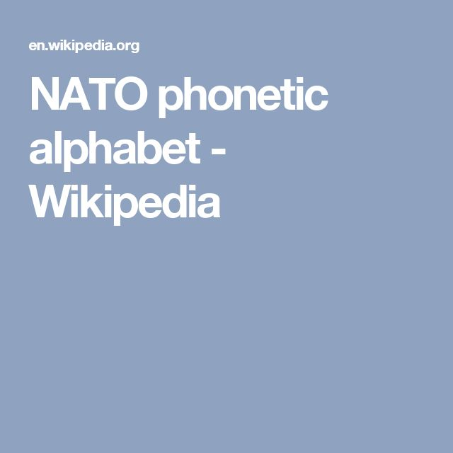 NATO phonetic alphabet - Wikipedia