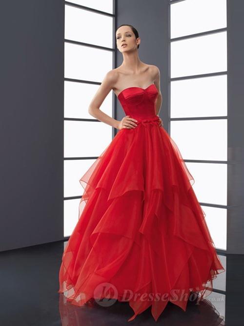 A-line Sweetheart Red Belt Organza Floor-length Dress