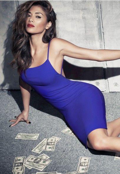 Nicole X Missguided Low Back Strappy Midi Dress Cobalt Blue