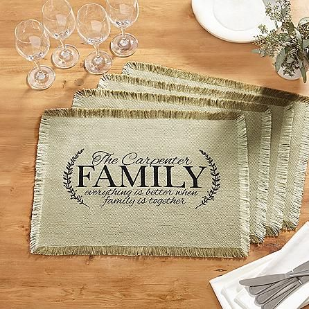 A Personal Creations Exclusive! Celebrate the benefits of family  togetherness—especially at mealtimes —with our elegantly traditional  placemats.