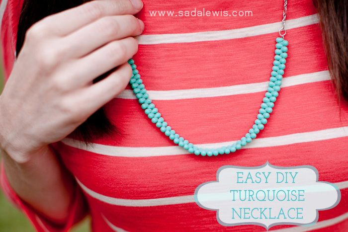 I'm in a DIY mood.Jewelry Make, Turquoise Necklaces, Diy Necklaces, Diy Turquoise, Beads Necklaces, Necklaces Tutorialblog, Diy Jewelry, Diy Easy, Necklaces Tutorials Blog