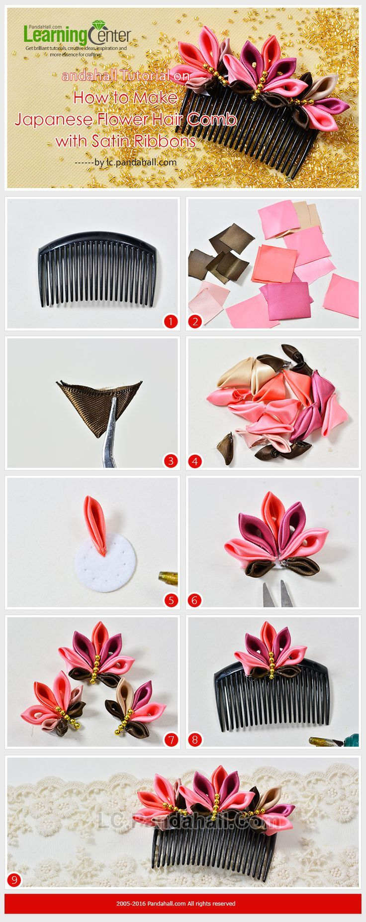 Tutorial on How to Make Japanese Flower Hair Comb with Satin Ribbons Love Japanese crafts? Learn to sew Japanese sewing at www.japanesesewingpatterns.com