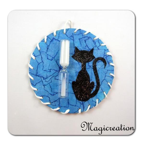 SABLIER MAGNET CHAT BLEU - Boutique www.magicreation.fr