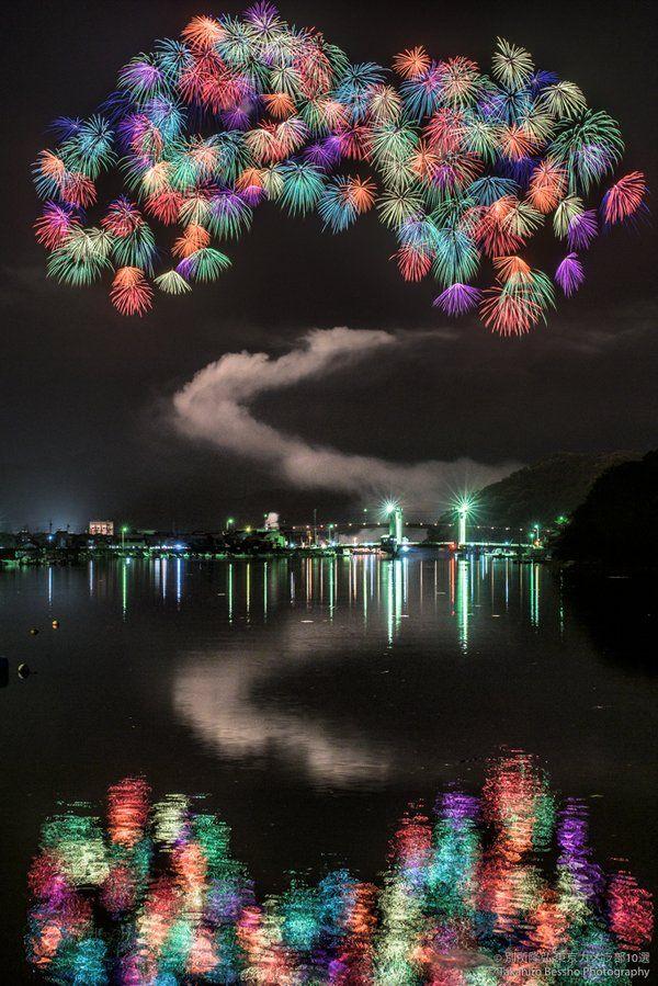 Fireworks at Lake Biwa, Japan