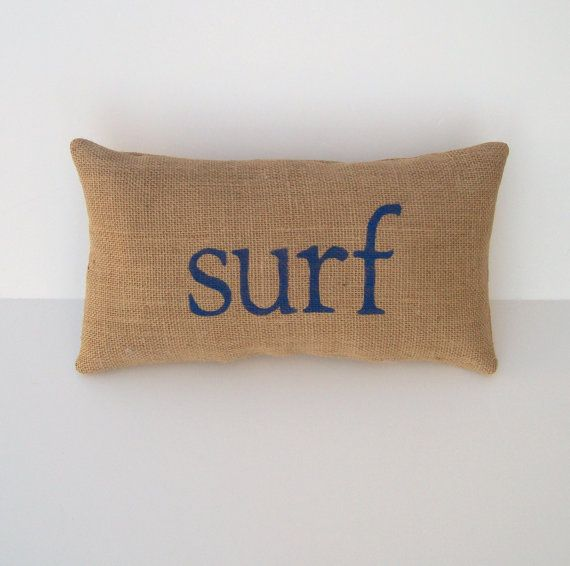 burlap pillow SURF decorative blue word by whimsysweetwhimsy, $26.00