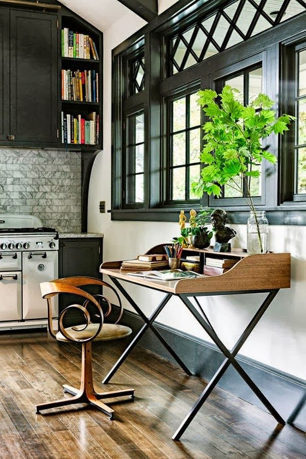 Cute office set up in the kitchen #office #kitchen