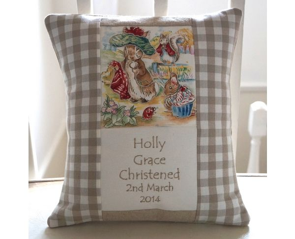 Birth/Christening cushion in Natural gingham design by Tuppenny House Designs.
