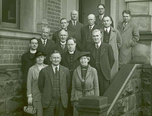 Council of Public Education on front steps with Pavia and King 1938. 1930s vintage fashion. Geelong, Australia.
