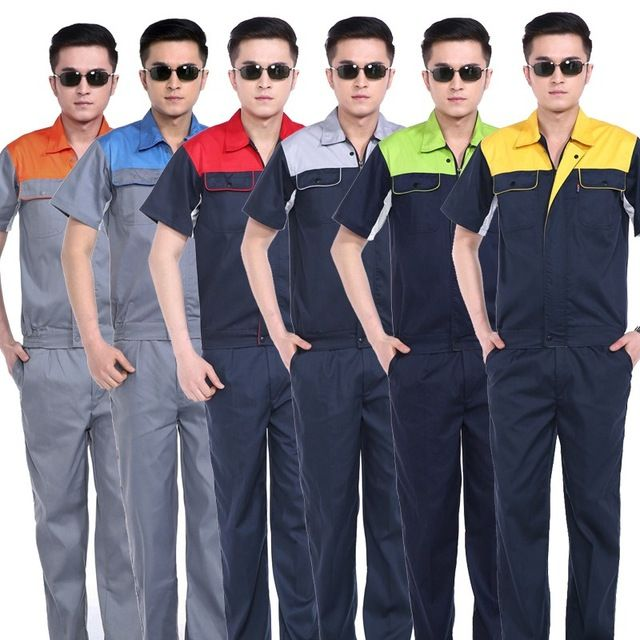 short-sleeve Electrical workers uniforms Waterway workers workwear protective clothing set male