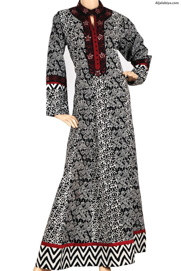 """Coralline"" Cotton patterned kaftan with machine embroidery on chest (N-11782-1) -"