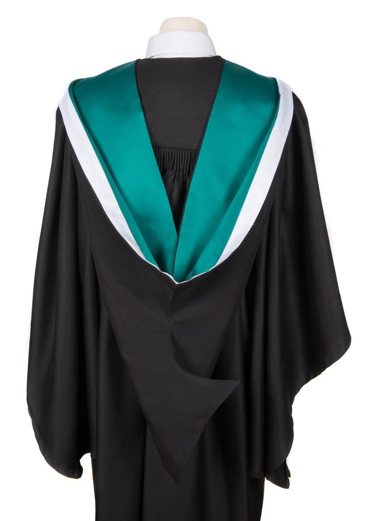 University academic graduation hood (Bachelor) - UK style hood only (Emerald Green with White Rim). Bachelor Graduation Hood. Button loop included in manufacture. Simple shape. Hood trim reflects institution.