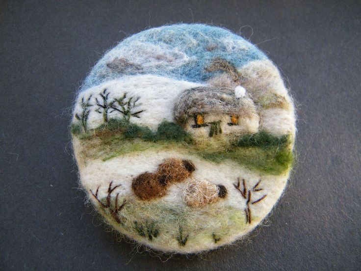 Hand Made Needle Felted Brooch/Gift On a Cold Winters Day by Tracey Dunn