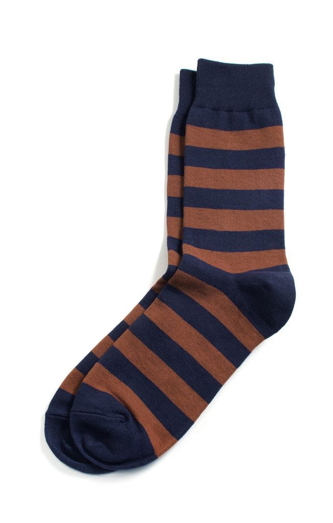 I have these socks and love them. They look great with dark denim. Walk On Brown & Navy Socks by  Richer Poorer | $9 on sale #holidaygifts #mensfashion #thenatty