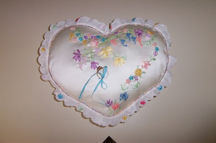 Ring pillow for a Spring wedding. Choose your colors. Silk flowers and beads.: Ring Pillows, Silk Flowers, Spring Wedding