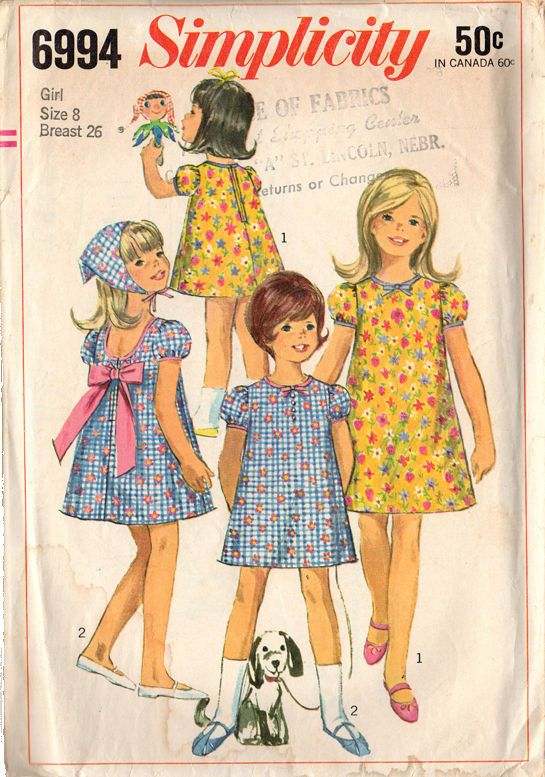 Vintage 1960s Simplicity Pattern 6994 Knee Length Puffy Sleeve Girls Dress with Scarf Bust 26 Size 8
