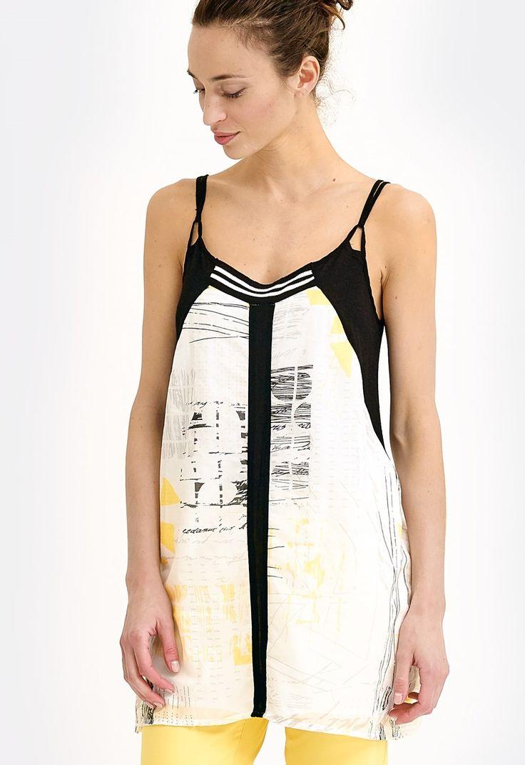 Tunique noir blanc jaune imprimée graphique parfait pour l'été