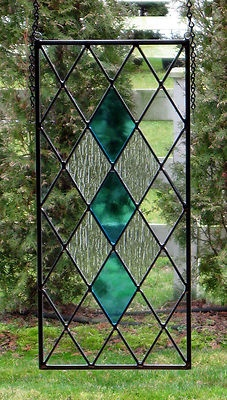 Stained glass panel translucent aqua blue architectural for 14x27 window