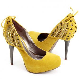 sapatos scarpin amarelo importados