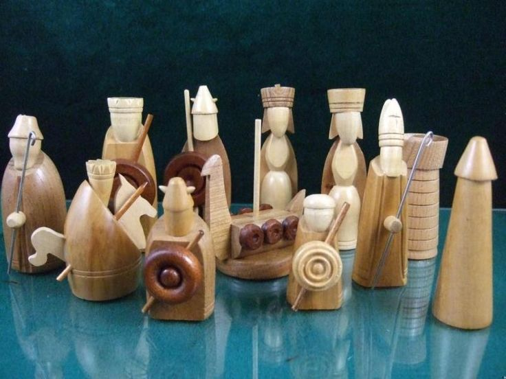 Mid Century Viking Themed Hand Carved Chess Set Mid