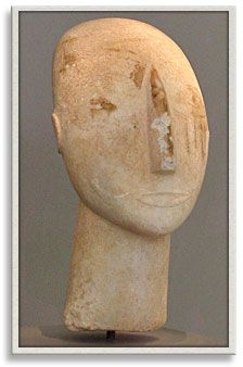 "So-called ""Cycladic art"" is another famous style of art from the earliest days of the Mediterranean, predating even the Minoans. The style is named after the Cyclades Islands where many such figures were found."