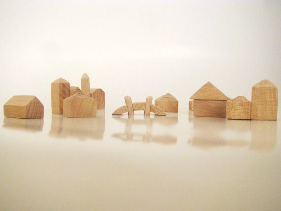 Wooden unfinished miniature houses  Set of 11pcs 3D by beigebois