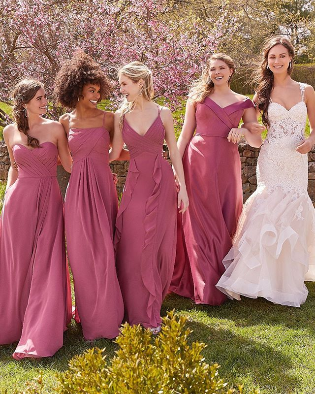Marciela, Style 8118, with Bridesmaids gowns shown in Rosewood   Bridesmaid  dress collection, Rose bridesmaid dresses, Bridesmaid gown