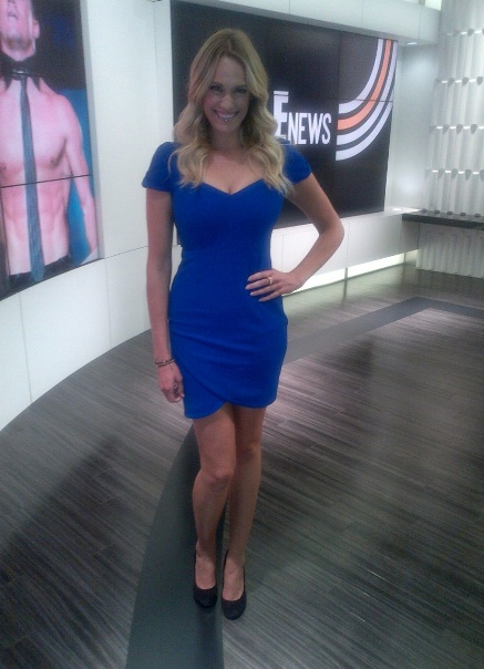 E! News' Ashlan wearing Abyss by Abby's In The Scene dress in blue on E! News yesterday. She looks stunning in blue!Ashlan Wear, News Yesterday, Wear Abyss, Scene Dresses, Tv Placements