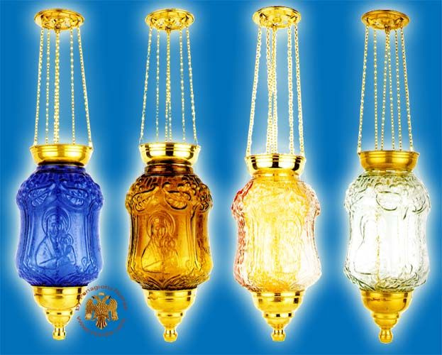 Hanging Glass Pillar Candle With Theotokos Images