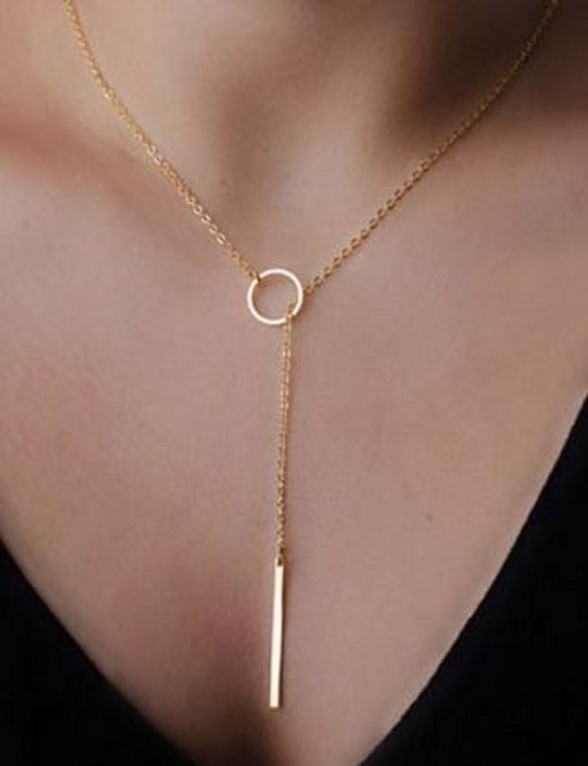 Pretty Gift Idea! Chic and Delicate Gold Color Circle and Bar Necklace. It's a little off center which just...whatever.